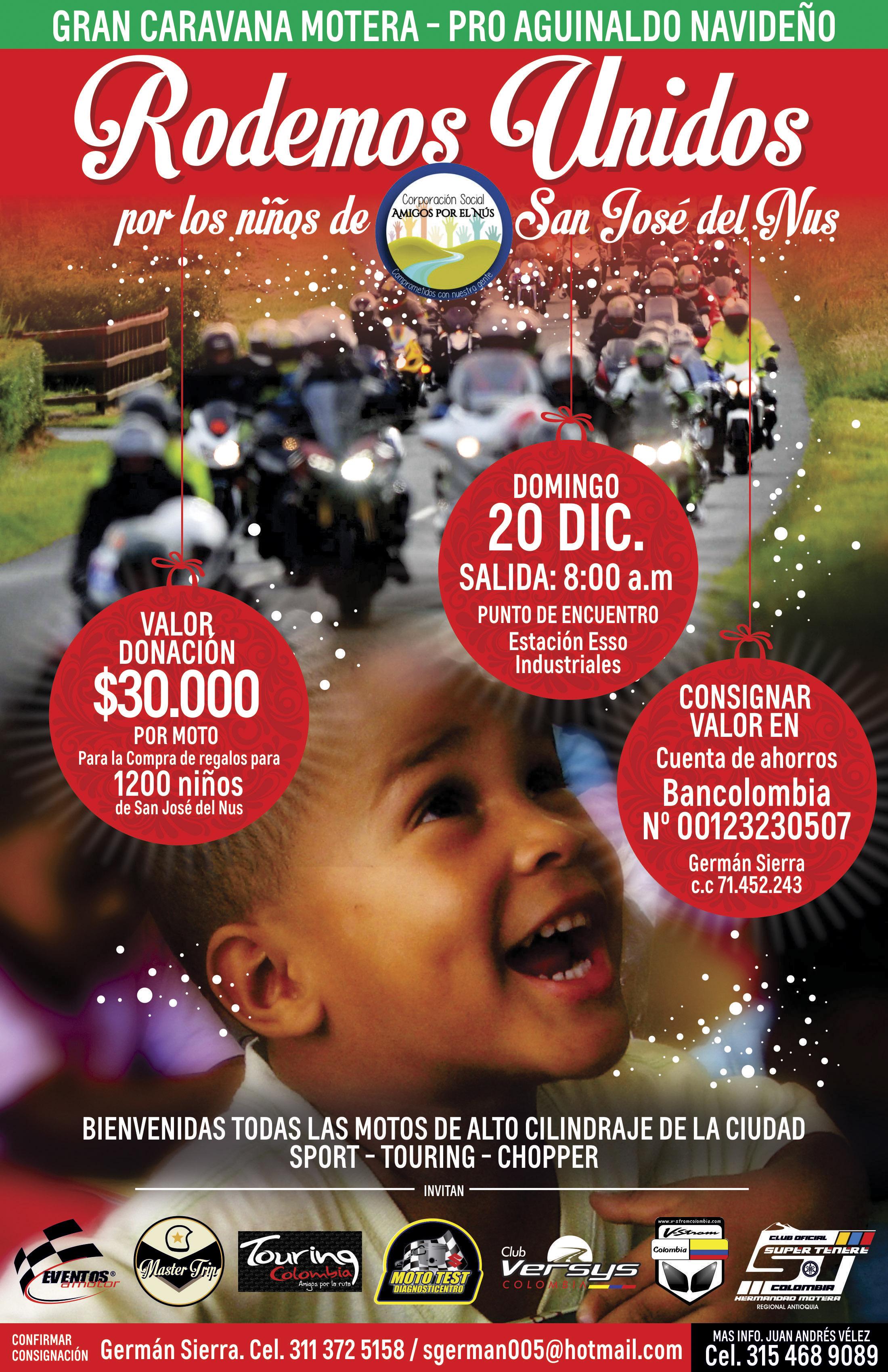 Caravana motos de Medellín niños San Jose del Nus